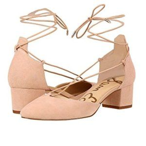 Sam Edelman Loretta Suede Lace-Up Nude Pump Heels